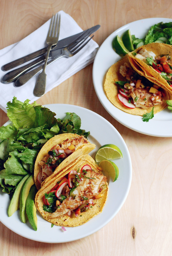 fish tacos with heirloom tomato and peach salsa | brooklyn ...