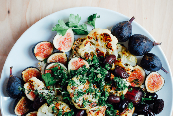roasted cauliflower salad with olives, fresh figs,and ...