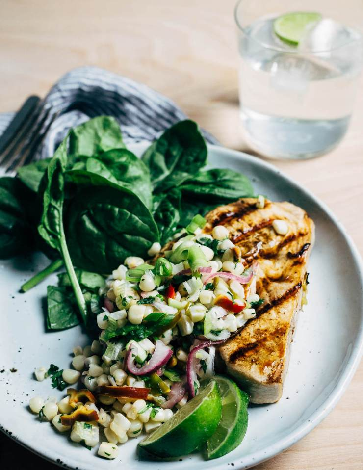 grilled swordfish steaks with herbed corn salad // brooklyn supper