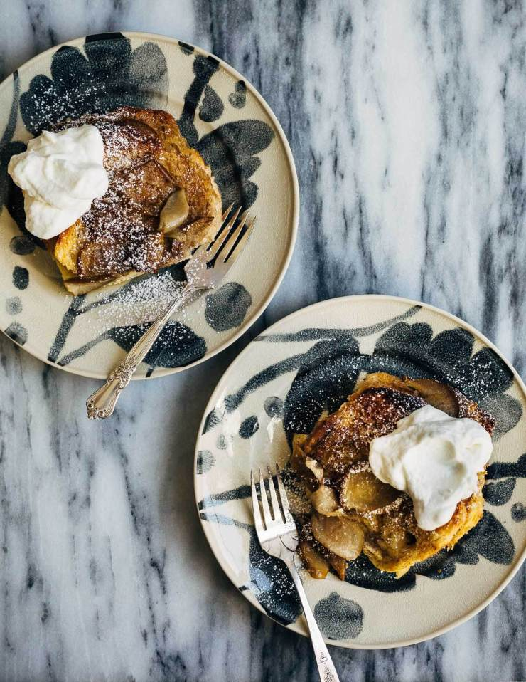 Seckel pears sautéed in brown butter syrup and slices of brioche dipped in cinnamon sugar elevate this simple seckel pear bread pudding recipe.