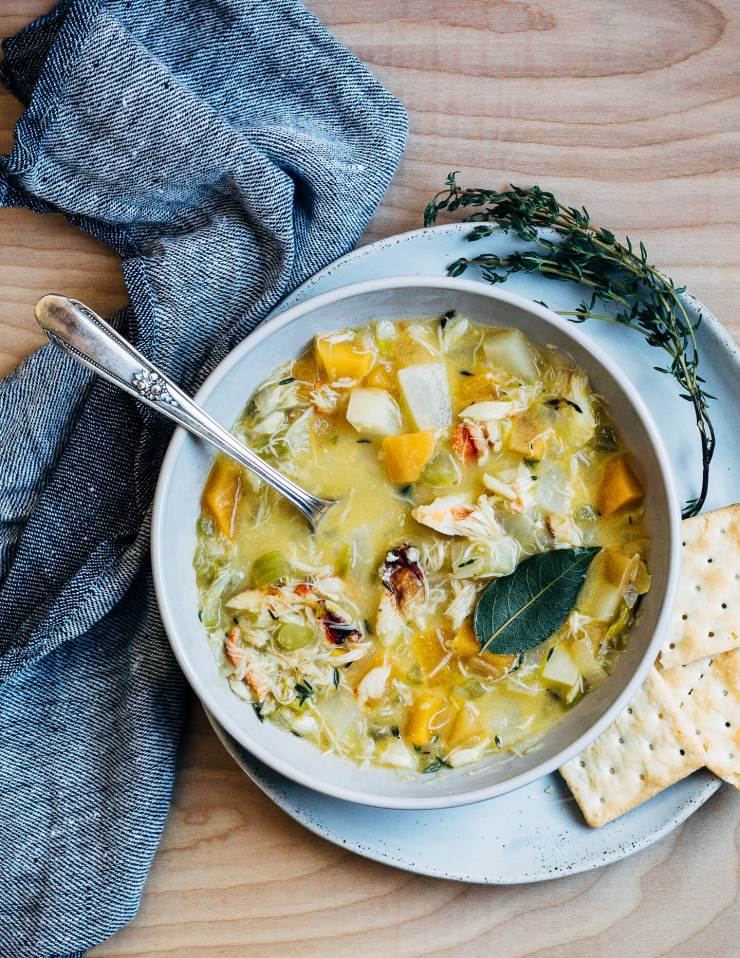 A wintry Dungeness crab chowder made with leeks, rutabagas, turnips, and fresh herbs.