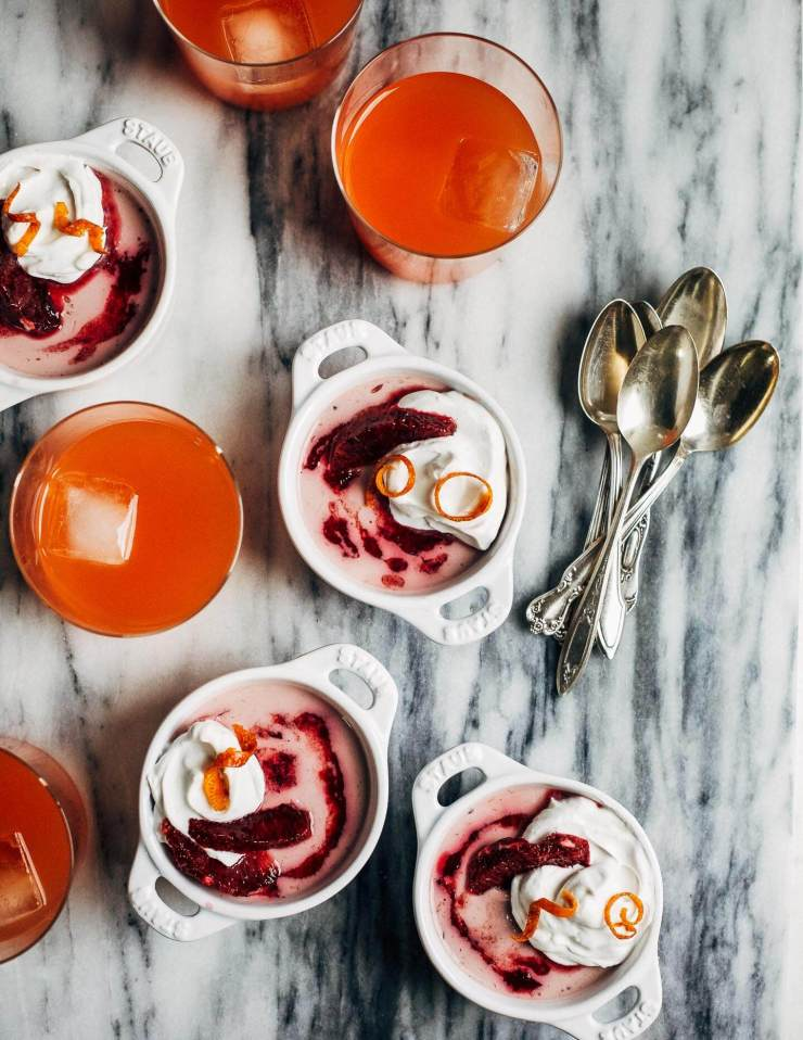 This creamy vegan blood orange panna cotta has a coconut milk base suffused with vanilla bean and clove, and a swirl of ruby-hued blood orange juice on top. Share it with someone you love.
