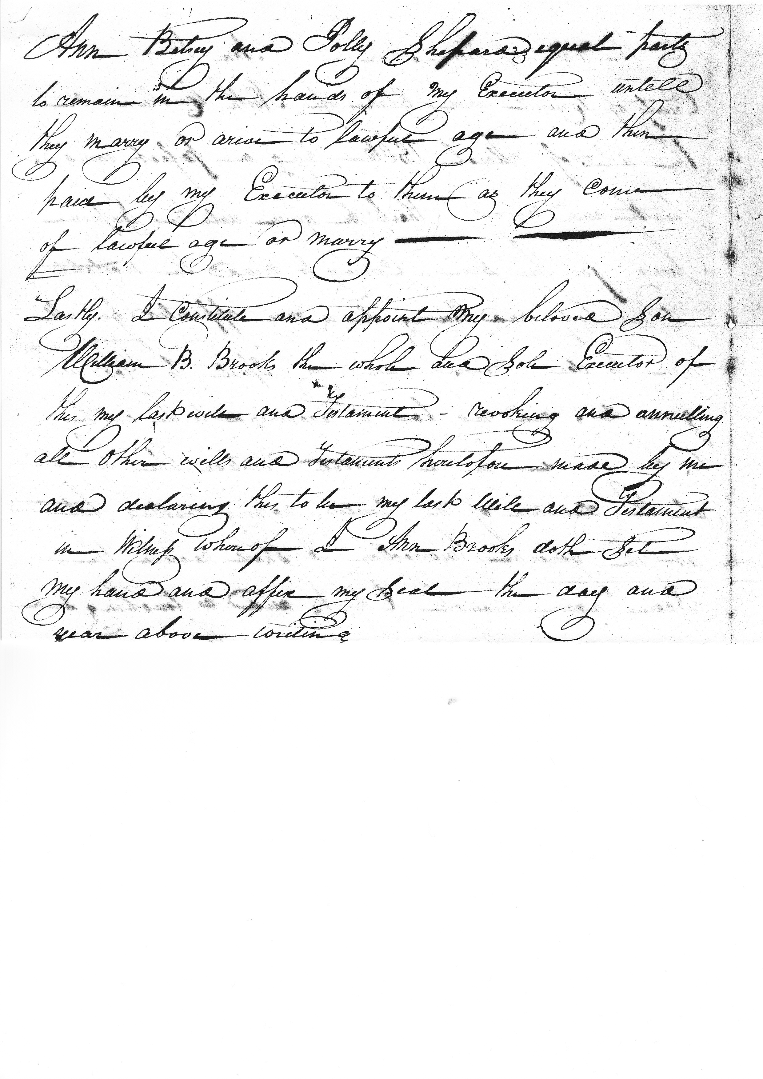 The Will Of Ann Brooks Caswell County North Carolina