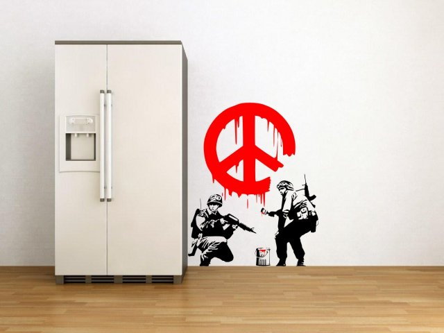 Banksy Style CND Peace Sign Soldiers Art Vinyl Sticker