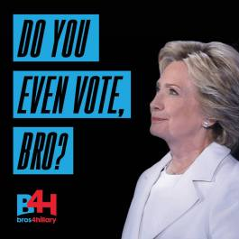 """Users who texted """"Bros"""" to 47426 were delighted to find a text back from Hillary with our slogan and link to the Official Bros4Hillary Call Team, hosted by www.hillaryclinton.com."""
