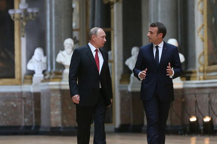 French President Emmanuel Macron did not mince words for Russian President Vladimir Putin or the man of the hour, Donald J. Trump.