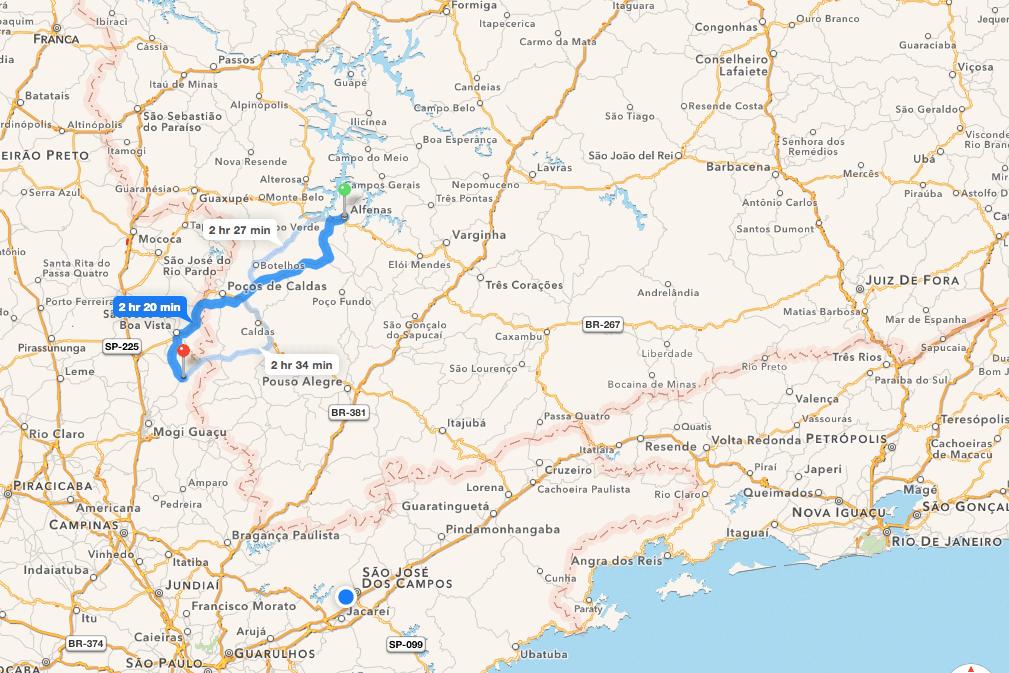 A long drive to Alfenas