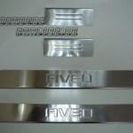 """CHEVROLET Aveo """"12-15""""Накладки на дверные пороги с логотипом, нерж.Omsa"""