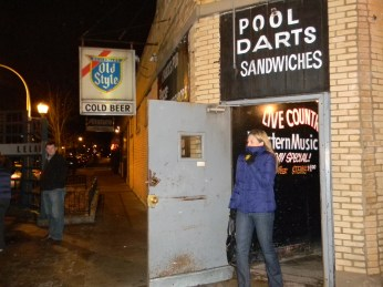 The steel door of Carol's Pub, located at 4659 N. Clark Street.