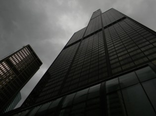 "Looking up the ""Big"" face - The Sears Tower - Chicago"