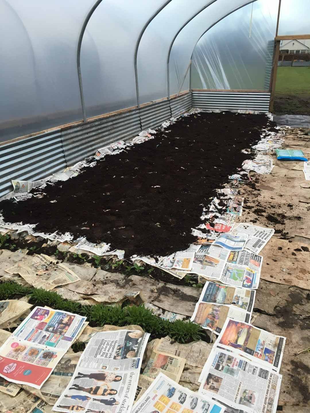 No-Dig beds being mulched in compost