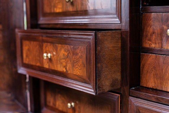 The cabinet restored – detail of an internal drawer