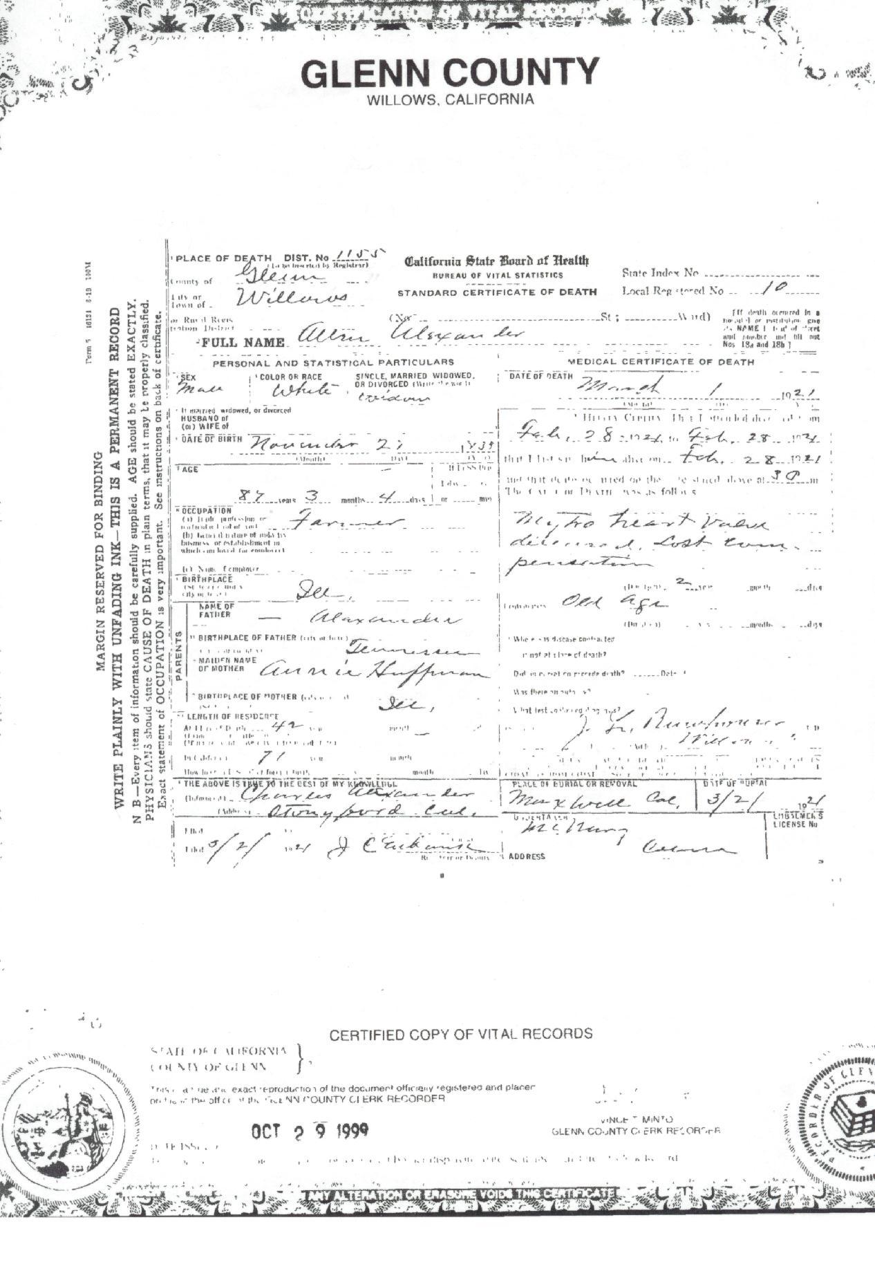 Death Certificate Of A Allen Alexander Brown County Ilgenweb