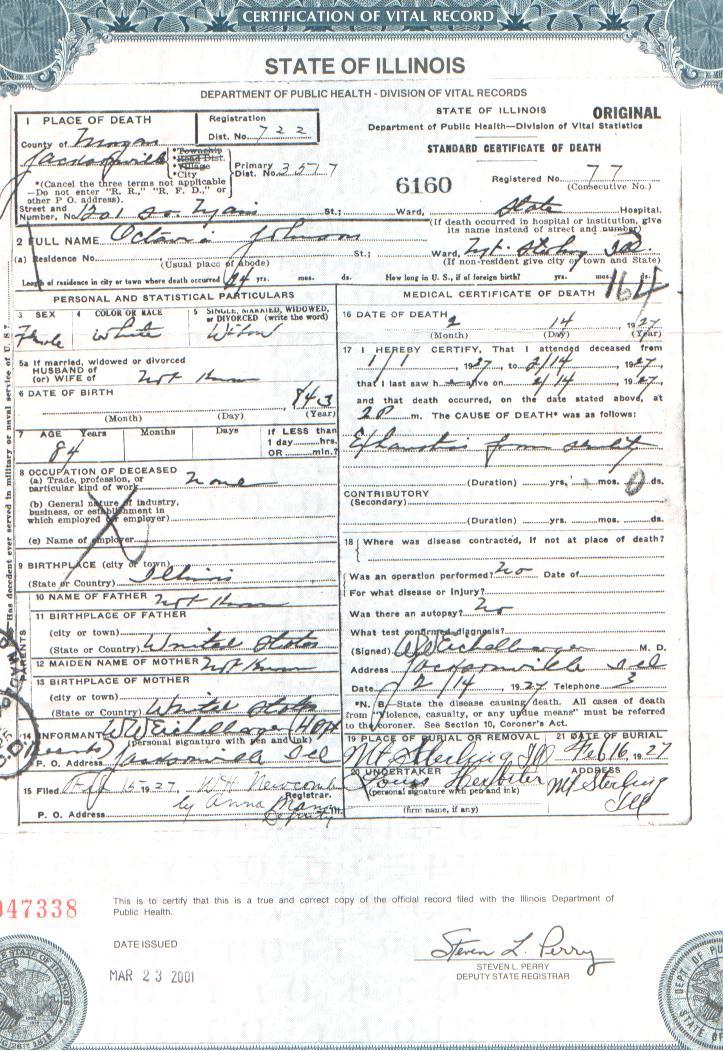 Death Certificate of Octavia (Alexander) Johnson | Brown County ILGenWeb