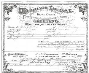 Marriage License of John Joseph Miller and Grace Miller p. 1