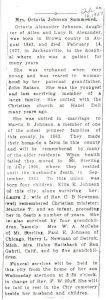 Obituary of Mrs. Octavia Johnson