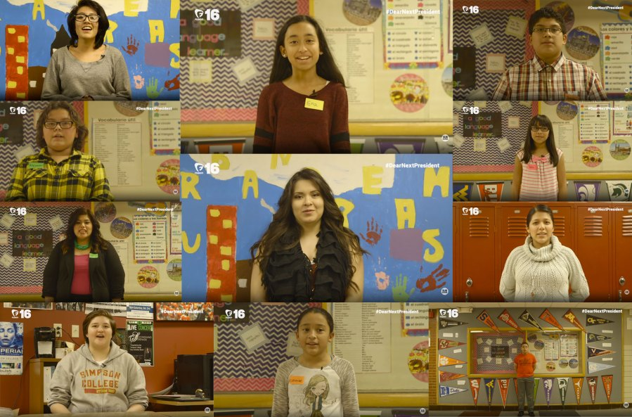teachers and students participating in dear next president campaign