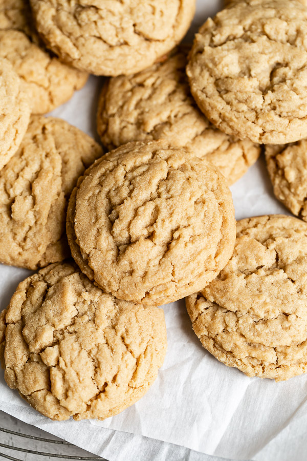 close-up of 15 minute peanut butter cookies on baking tray
