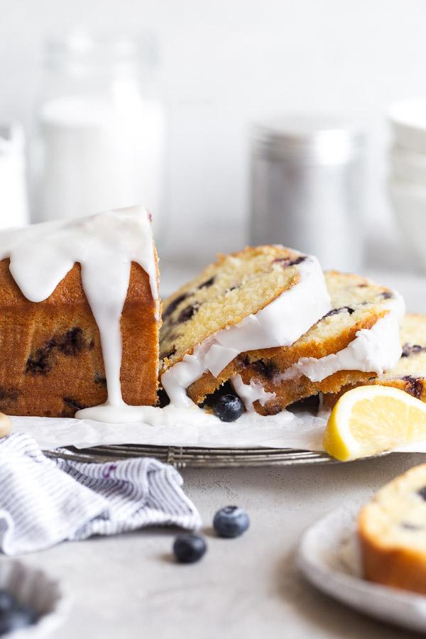 slices falling down of lemon blueberry cake