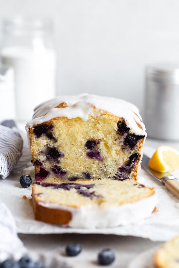 slice removed from lemon blueberry cake