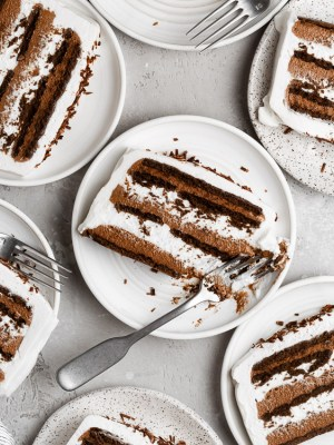 close up of chocolate icebox cake with bite taken out