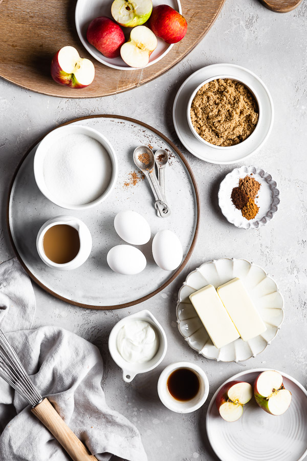 ingredients for apple cider donut bundt cake laid out on table top
