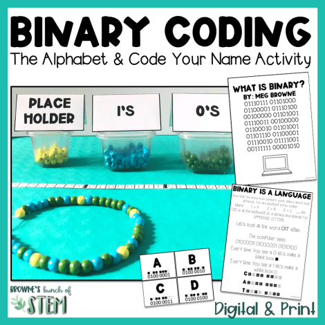 Teaching Binary to students to code offline. Learn the alphabet and how to code your name in this back to school activity. 3 containers of yellow, blue, and green beads.  A necklace coded to write MEGAN.