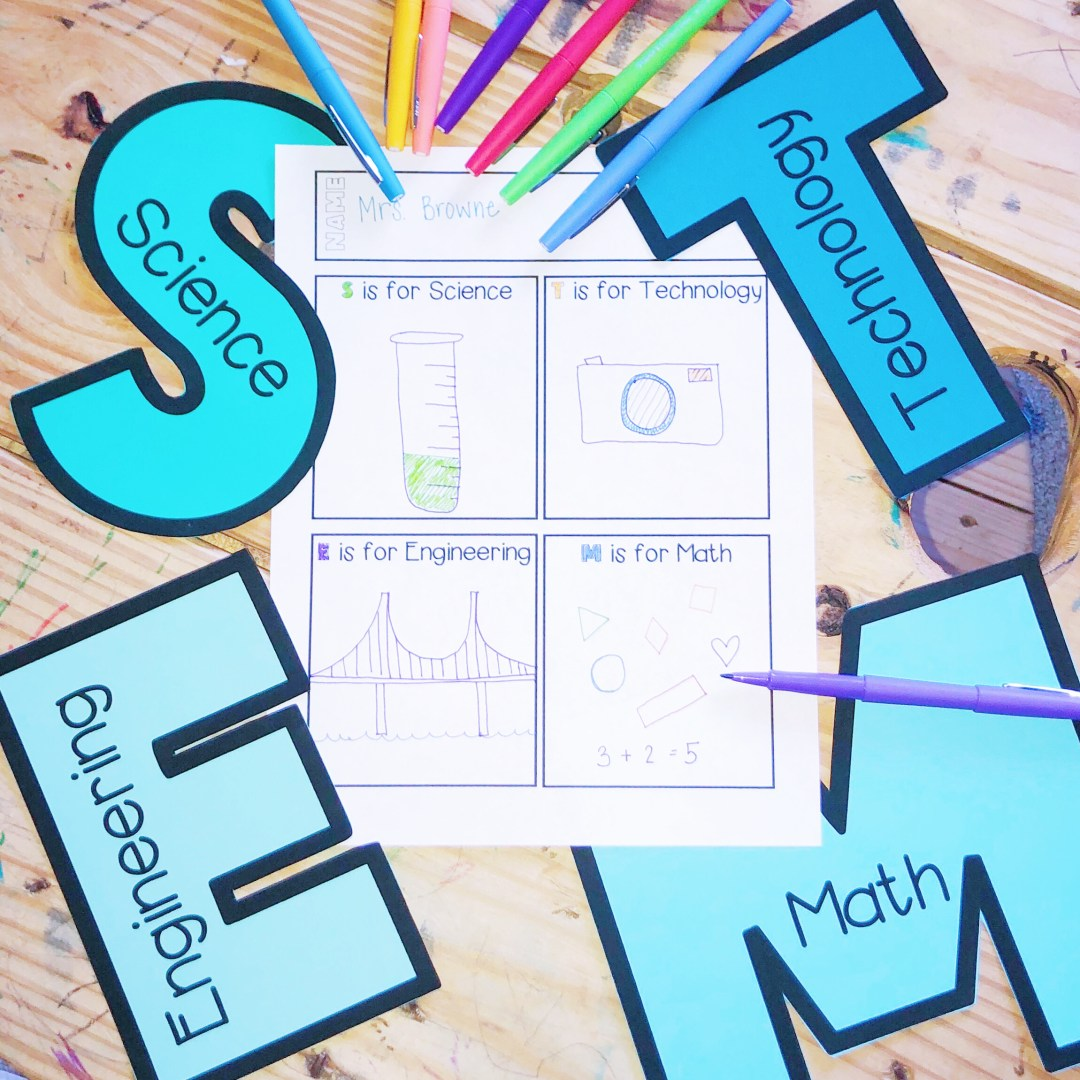 the letters STEM above a worksheet that describes each stem activity. science, technology, engineering, and math
