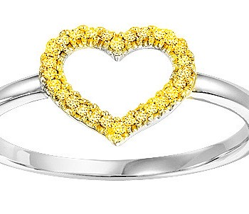 Yellow Diamond heart Ring in Sterling Silver-0