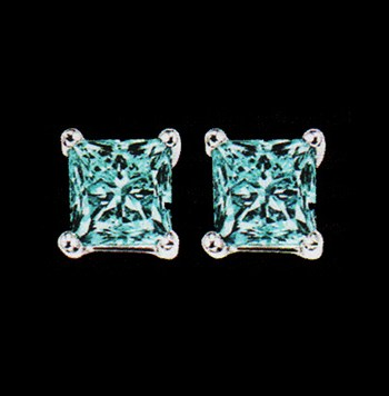 Blue Princess Cut Diamond Earrings 1.0ctw 10K White Gold-0