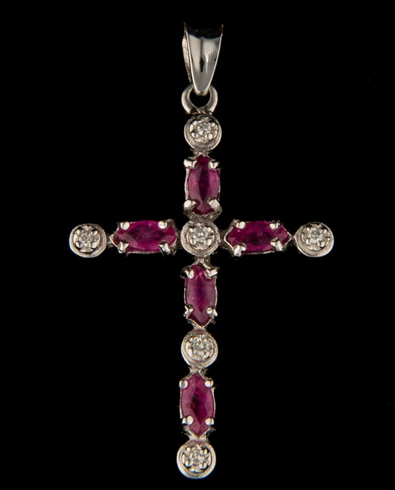 Diamond (0.03 ctw) and Ruby (5 4x2mm Marquis Cut) Cross in 14K White Gold-0