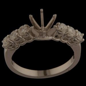 Diamond Semi-Mount Engagement Ring 0.55ctw 14K White Gold-0