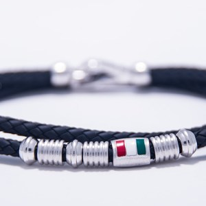 Italian Flag Bracelet Double Strand Silver and Rubber-0