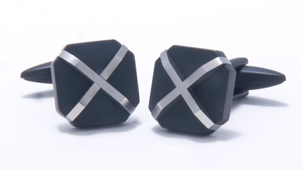 Black Stainless Steel X Pattern Cufflinks-0
