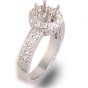Diamond Engagement Halo Semi-Mount 0.52 ctw in 14K White Gold-0