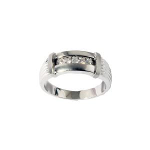 Men's Channel Bar Diamond Ring in 14K White Gold