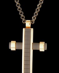 Black Stainless Steel Cross on a 22″ Rolo Chain-0