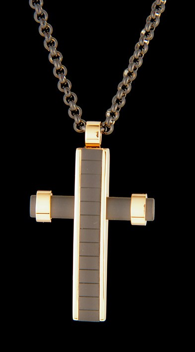 """Black Stainless Steel Cross on a 22"""" Rolo Chain-0"""