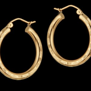 Textured Hoop Earrings in 14K Yellow Gold-0