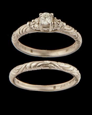 Diamond (0.34ctw) Engagement Ring Set in 14K White Gold-0