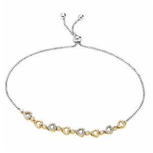 Diamond 0.125ctw Two Tone Heart Bracelet in Sterling Silver