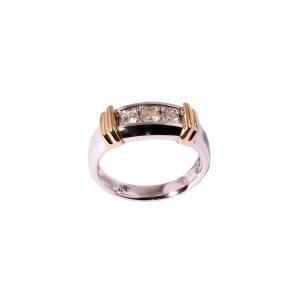 Men's Diamond (0.50ctw) Wedding Band Three Stone in 14K Two-Tone Gold