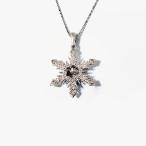 Rhythm of Love Diamond (0.05ctw) Snowflake Pendant in Sterling Silver