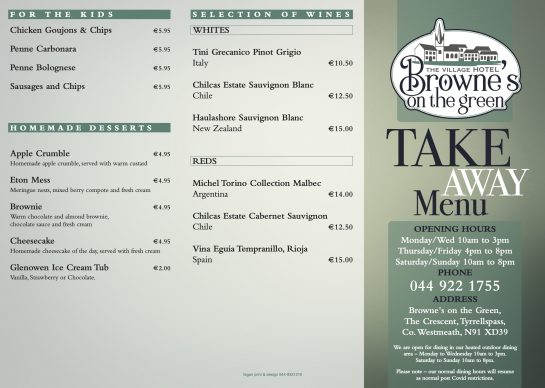 Take Away Menu Brownes on the Green Page 1