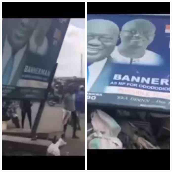 Angry youth filmed destroying billboard of President Nana and Bannerman (Video)