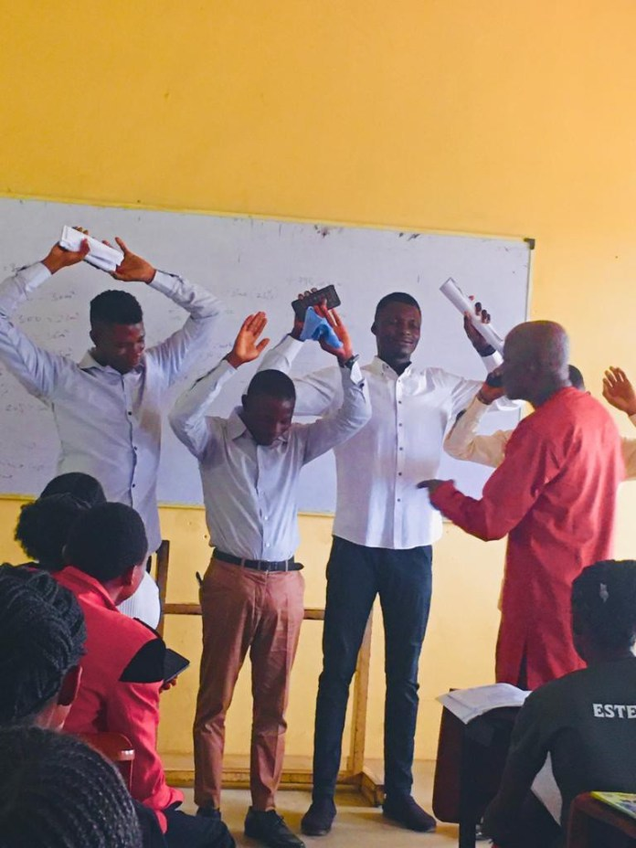 Lecturer reportedly orders final year students to raise their hands and close their eyes after they came late to his class