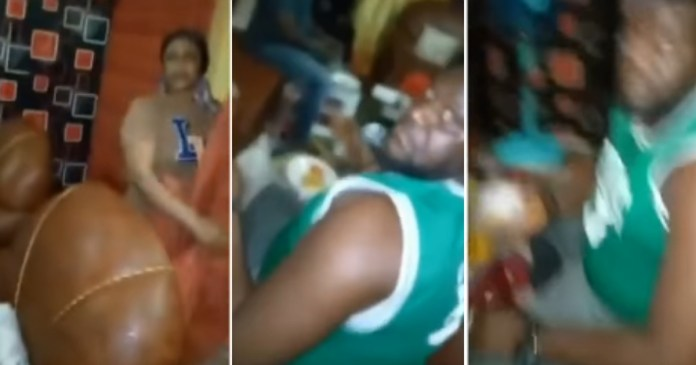 Man catches wife feeding her lover in their matrimonial home (Video)