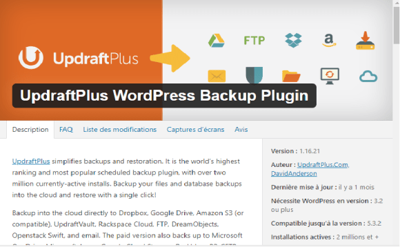 plugins : updraftplus