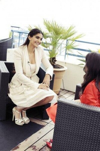 Sonam Kapoor in an Elie Saab dress for media calls.  Source: Bollywood's Biggest Fan Club - BBFC