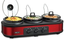 BELLA 13698 Oval Triple Slow Cooker with Lid Rests, 1.5-Quart, Red
